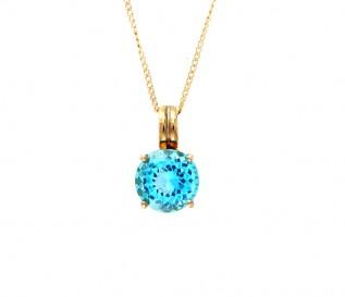 9k Gold Blue Topaz Pendant