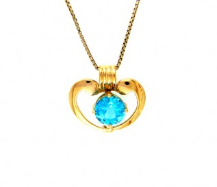14k Yellow Gold Blue Topaz Heart Pendant