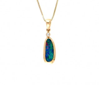 14k Yellow Gold Opal Diamond Pendant