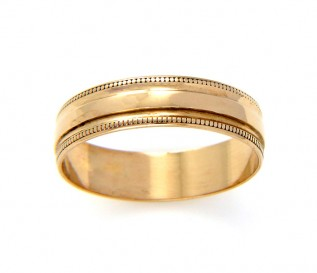 9k Yellow Gold Beaded Wedding Band