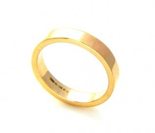 9k Yellow Gold 4mm Flat Wedding Band