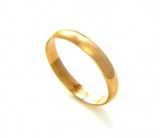 9k Yellow Gold 3mm Ladies Wedding Band Size O